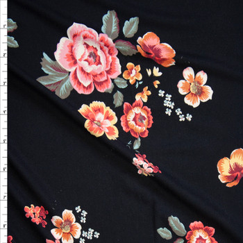 Ornate Floral Clusters on Black Bullet Liverpool Knit Fabric By The Yard
