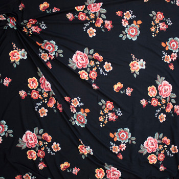 Ornate Floral Clusters on Black Bullet Liverpool Knit Fabric By The Yard - Wide shot