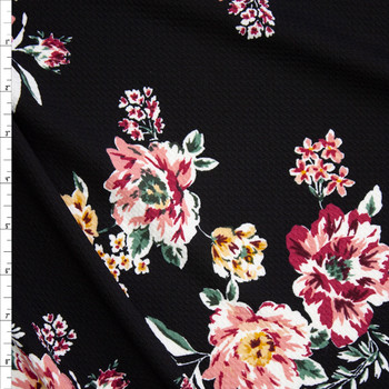 Mauve and Magenta Floral on Black Crepe Liverpool Knit Fabric By The Yard