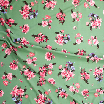 Pink and Blue Floral on Sage Green Crepe Liverpool Knit Fabric By The Yard - Wide shot