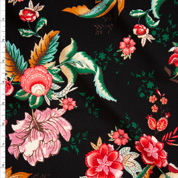 Red, Mauve, and Emerald Ornate Floral on Black Bullet Liverpool Knit Fabric By The Yard