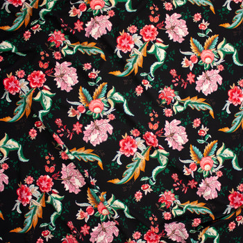 Red, Mauve, and Emerald Ornate Floral on Black Bullet Liverpool Knit Fabric By The Yard - Wide shot