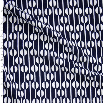 Navy and White Geometric Bullet Liverpool Knit Fabric By The Yard