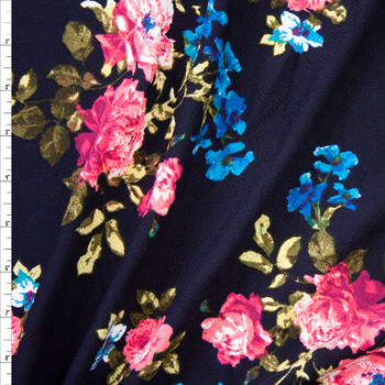 Pink and Turquoise Rose Floral on Navy Crepe Liverpool Knit Fabric By The Yard
