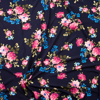 Pink and Turquoise Rose Floral on Navy Crepe Liverpool Knit Fabric By The Yard - Wide shot