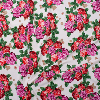 Red and Magenta Floral on Offwhite Crepe Liverpool Knit Fabric By The Yard - Wide shot