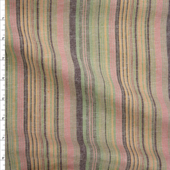 Pink, Lime, Yellow, and Black  Barcode Stripe Linen Fabric By The Yard