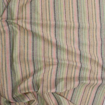 Pink, Lime, Yellow, and Black  Barcode Stripe Linen Fabric By The Yard - Wide shot