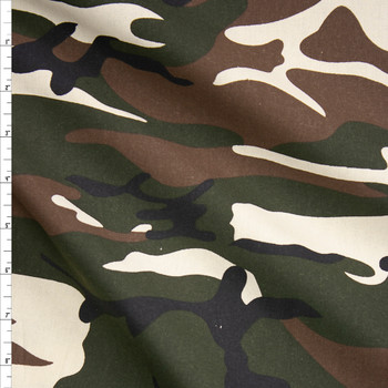 Brown, Green, Black, and Ivory Camouflage Midweight Cotton Poplin Fabric By The Yard