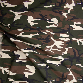 Brown, Green, Black, and Ivory Camouflage Midweight Cotton Poplin Fabric By The Yard - Wide shot