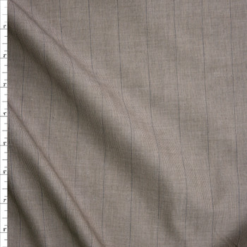 Grey on Khaki Vertical Pinstripes Cotton Shirting Fabric By The Yard