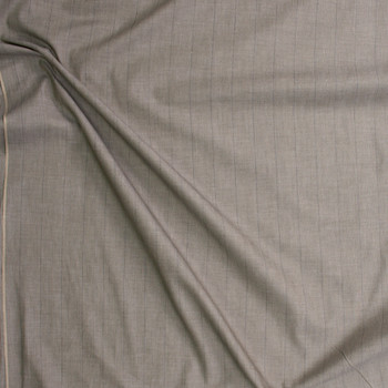 Grey on Khaki Vertical Pinstripes Cotton Shirting Fabric By The Yard - Wide shot