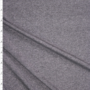 Metallic Silver Heather Grey Lightweight Jersey Knit Fabric By The Yard