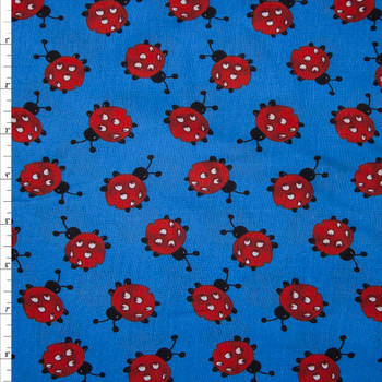Ladybugs on Blue Quilter's Cotton Fabric By The Yard