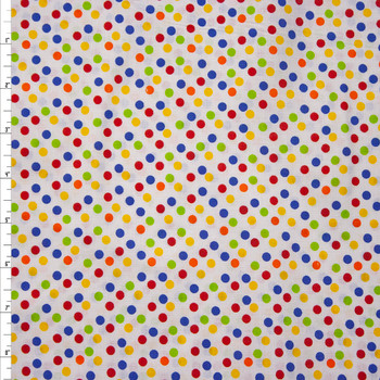 Multi Colored Dots on White Quilter's Cotton Fabric By The Yard
