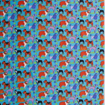 Artsy Dogs on Turquoise Quilter's Cotton Fabric By The Yard - Wide shot