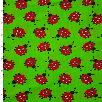 Ladybugs on Lime Quilter's Cotton Fabric By The Yard