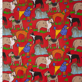 Artsy Dogs on Red Quilter's Cotton Fabric By The Yard