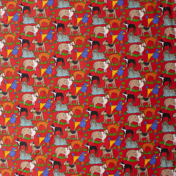 Artsy Dogs on Red Quilter's Cotton Fabric By The Yard - Wide shot
