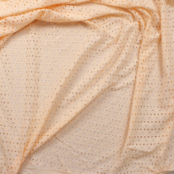 Light Peach Floral Leaf Pattern Designer Cotton Eyelet Fabric By The Yard - Wide shot