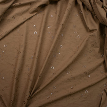 Brown Dainty Floral Designer Cotton Eyelet Fabric By The Yard - Wide shot
