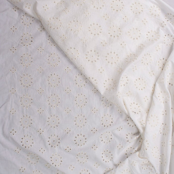 Offwhite Medallions Designer Cotton Eyelet Fabric By The Yard - Wide shot