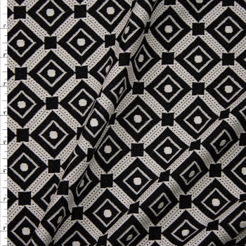 Black and Offwhite Diamond Pattern Textured Double Knit Fabric By The Yard