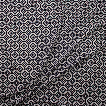 Black and Offwhite Diamond Pattern Textured Double Knit Fabric By The Yard - Wide shot