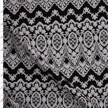 Offwhite on Black Scalloped Pattern Textured Double Knit Fabric By The Yard