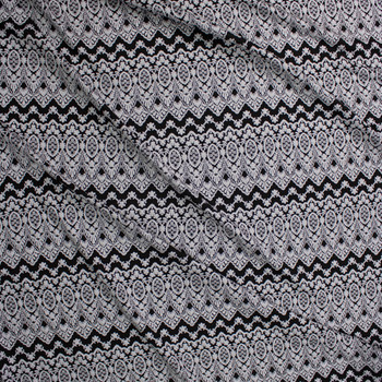 Offwhite on Black Scalloped Pattern Textured Double Knit Fabric By The Yard - Wide shot