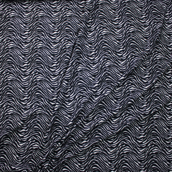 Black and Light Grey Wavy Zebra Textured Double Knit Fabric By The Yard - Wide shot
