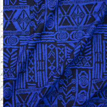 Royal Blue and Black Tribal Pattern Textured Double Knit Fabric By The Yard