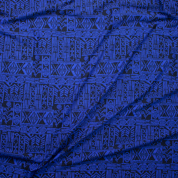 Royal Blue and Black Tribal Pattern Textured Double Knit Fabric By The Yard - Wide shot
