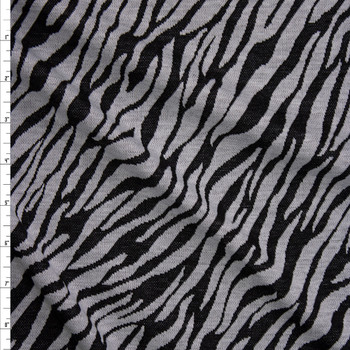 Grey and Black Zebra Double Sweater Knit Fabric By The Yard