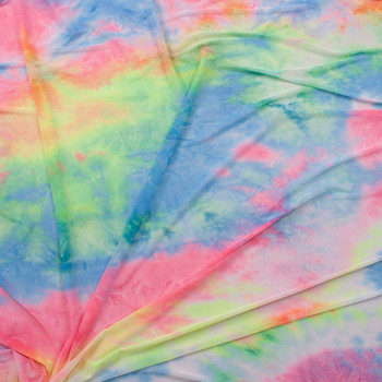 Pink, Blue, and Yellow Tie Dye Power Mesh Fabric By The Yard - Wide shot