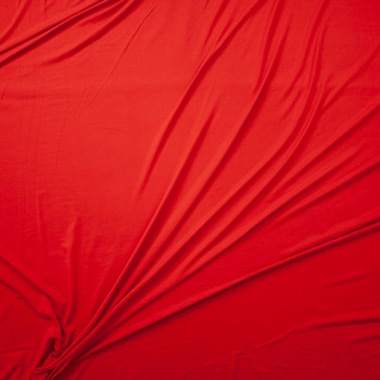 Red Orange Double Brushed Poly/Spandex Knit Fabric By The Yard - Wide shot
