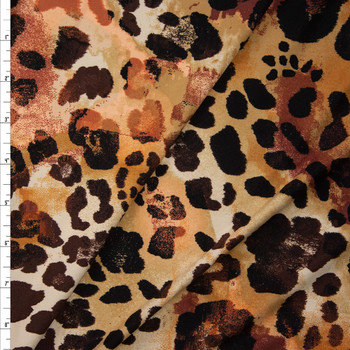 Tan, Peach, and Brown Blotch Leopard Double Brushed Poly/Spandex Knit Fabric By The Yard