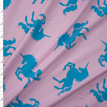 Turquoise Unicorns on Blush Double Brushed Poly/Spandex Knit Fabric By The Yard