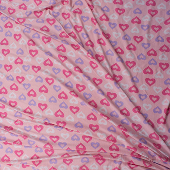 Hot Pink, Lavender, and White Hearts on Blush Double Brushed Poly/Spandex Knit Fabric By The Yard - Wide shot