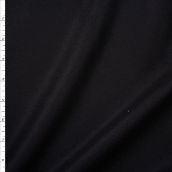 Black Designer Wool Melton Fabric By The Yard