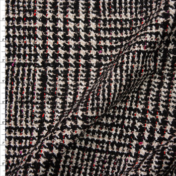 Grey and Black Houndstooth Plaid with Red and Purple Flecks Designer Wool Coating Fabric By The Yard