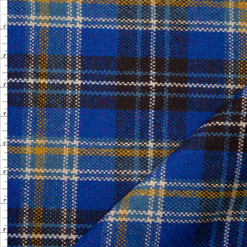 Bright Blue, Brown, and Yellow Plaid Designer Wool Coating Fabric By The Yard