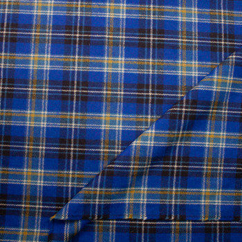 Bright Blue, Brown, and Yellow Plaid Designer Wool Coating Fabric By The Yard - Wide shot