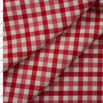 Red and Ivory Plaid Wool Crepe from Calvin Klein Fabric By The Yard
