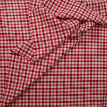 Red and Ivory Plaid Wool Crepe from Calvin Klein Fabric By The Yard - Wide shot