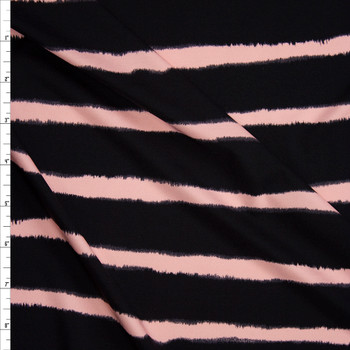 Blush and Black Horizontal Stripe Designer Nylon/Spandex from Manhattan Beachwear Fabric By The Yard