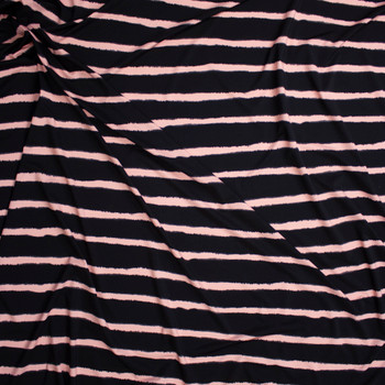 Blush and Black Horizontal Stripe Designer Nylon/Spandex from Manhattan Beachwear Fabric By The Yard - Wide shot