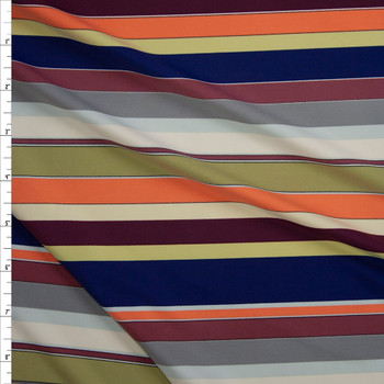 Wine, Peach, Avocado, Navy, Mauve, Grey, and White Multi Stripe Designer Nylon/Spandex from Manhattan Beachwear Fabric By The Yard