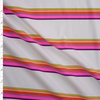 Neon Pink, Orange, and Yellow Stripe on White Designer Nylon/Spandex from Manhattan Beachwear Fabric By The Yard