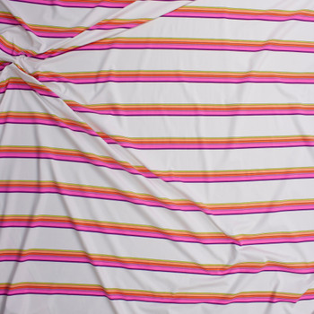 Neon Pink, Orange, and Yellow Stripe on White Designer Nylon/Spandex from Manhattan Beachwear Fabric By The Yard - Wide shot